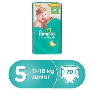 Pampers Baby-Dry Diapers, Size 5, Junior, 11-16kg, Giant Pack, 70 Count