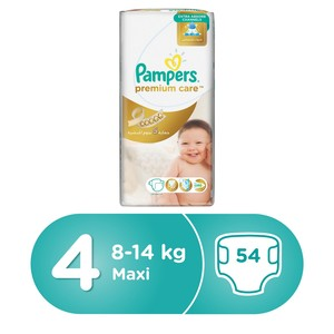 Pampers Premium Care Diapers, Size 4, Maxi, 9-14 kg, Giant Pack, 54 Count