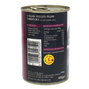 Epicure Italian Peeled Plum Tomatoes In Juice 400g