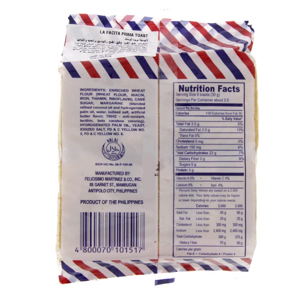 Buy La Pacita Prima Toast 100g - Filipino - Lulu Webstore QATAR