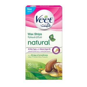 Veet Hair Removal Natural Wax Strips Argan Oil 20s