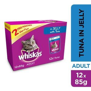Whiskas Tuna in Jelly Pouch Multipack 85g x 10 +2free