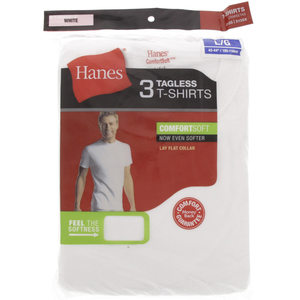 Hanes Mens T-Shirt White Large 2135 1x3 Piece