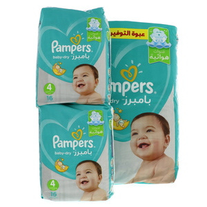 Pampers Active Baby Dry Diapers, Size 4, 9 -14kg, 76pcs + Carry Pack 2pcs