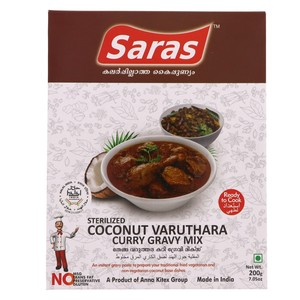 Saras Sterilized Coconut Varuthara Curry Gravy Mix 200g