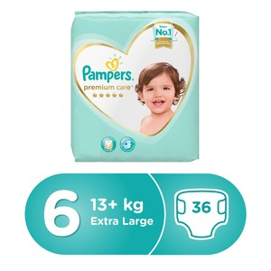 Pampers Premium Care Diapers, Size 6, Extra Large, 15+kg, Value Pack, 36pcs Count
