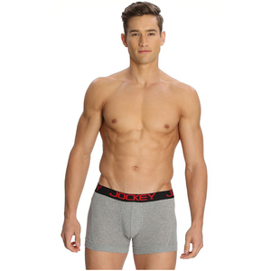 Mens Jockey Zone Stretch Boxer Brief Medium Grey Mel
