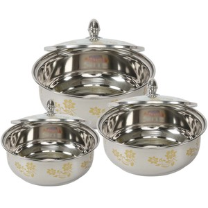 Chefline Stainless Steel Dish With Glass Lid ROZANA 3pcs