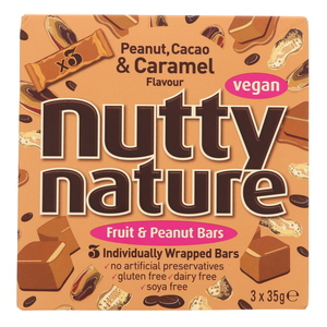 Nutty Nature Fruit & Peanut Bars With Cacao & Caramel Flavour 3 x 35g