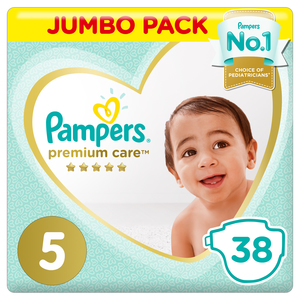 Pampers Premium Care Diapers Size 5 Junior 11-16 kg Jumbo Pack 38 Count