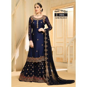 Semi Stitched Women's Sharara Salwar Suit Ghunghat 3106