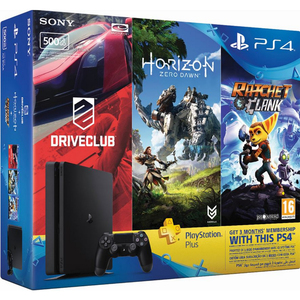 Sony PS4 500GB + Horizon Zero Dawn + Ratchet&Clank +Driveclub + 3Months Membership Card