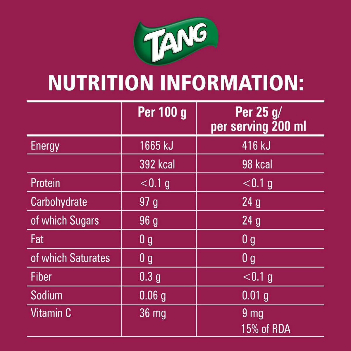 Buy Tang Mango Instant Flavoured Drink 750g - Powdered Drink