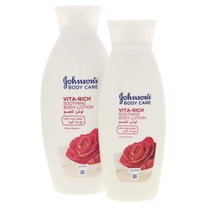 Johnson's Body Care Soothing Body Lotion With Rose Water 400ml + 250ml