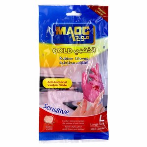 Maog Gold Rubber Gloves Anti-Bacterial Large 1 Pair
