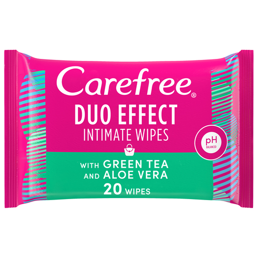 Carefree Daily Intimate Wipes Duo Effect with Green Tea and Aloe Vera 20pcs