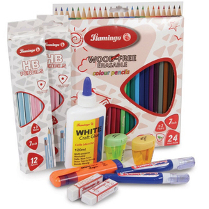 Flamingo Color Pencil 24's + Stationery Set LLV81