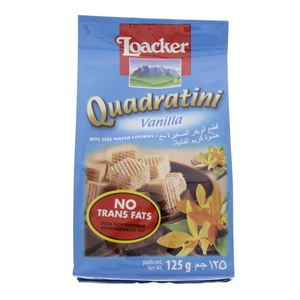 Loacker Quadratini Vanilla Cream Filled Wafer Cubes 125g