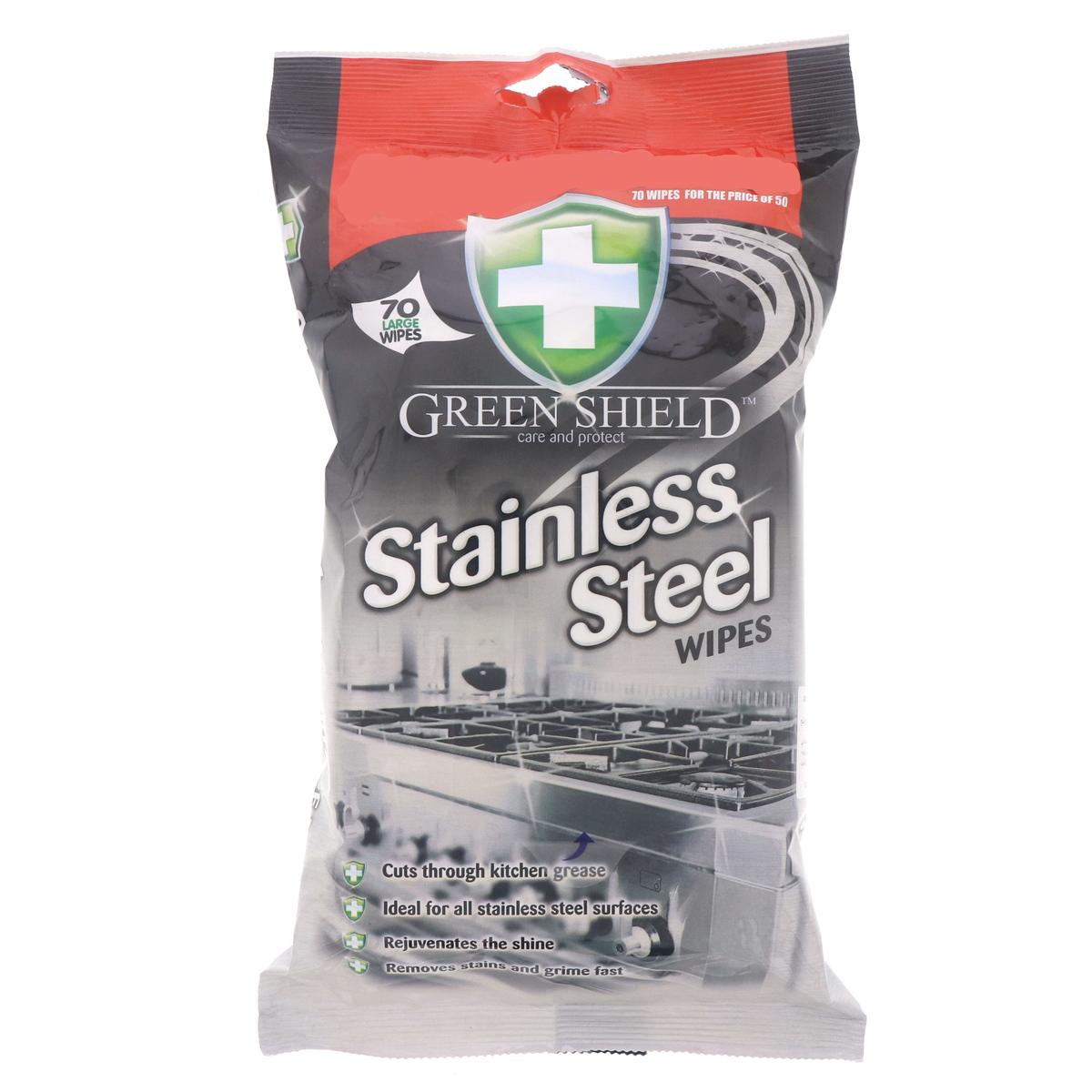 Green Shield Stainless Steel Wipes 70Pcs - Buy Online in KSA