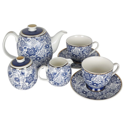 Pearl Noire Tea Set Blue 16A224A 7pcs