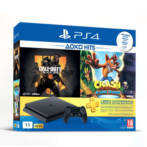 Sony PlayStation 4 Slim 1TB Days Of Play + Call of Duty Black Ops 4+ Crash Trilogy + 1 month PS Plus membership