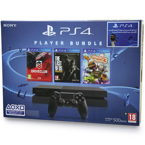PS4 Console 500GB + 3 Games Assorted