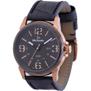 Tornado Men's Analog Grey Dial Leather Band Watch T5027-RLXX