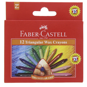 Faber-Castell Triangular Wax Crayons 12 Pieces