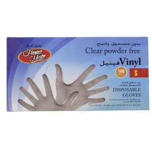 Home Mate Clear Powder Free Vinyl Gloves Small 100pcs