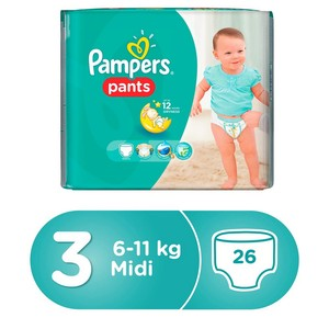 Pampers Pants Diapers, Size 3, Midi, 6-11kg, Carry Pack, 26pcs Count