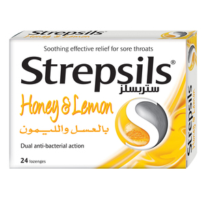 Strepsils Sore Throat Relief Honey & Lemon 24pcs