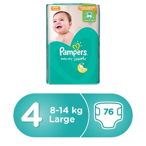 Pampers Baby-Dry Diapers, Size 4, Maxi, 9-14kg, Giant Pack, 76 Count