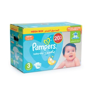 Pampers Baby Dry Size3, 5-9kg Mega Box 136 Count