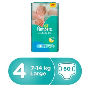 Pampers Active Baby Dry Diapers, Size 4, Maxi, 9-14kg 60pcs