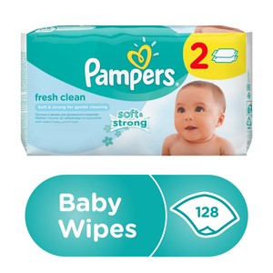 Pampers Fresh Clean Baby Wipes, Dual Pack, 128pcs