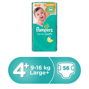 Pampers Baby-Dry Diapers, Size 4+, Maxi Plus, 10-15 kg 56 Count