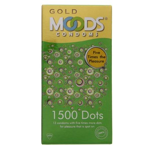 Moods Gold Condoms 1500 Dots 12pcs