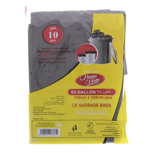 Home Mate Medium Low-Density Garbage Bag 65Gallon Size 105x125cm 10pcs