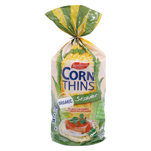 Real Foods Organic Corn Thins with Sesame 150g