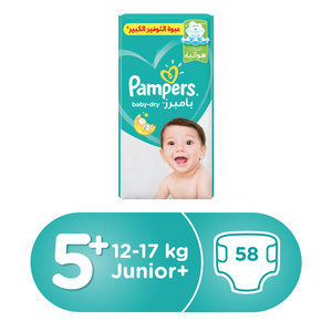 Pampers Baby Dry Diapers Size5+, 12-17kg, 58Pcs