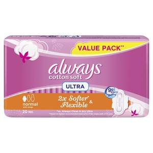 Always Soft Ultra Thin Normal Sanitary Pads 20 Count
