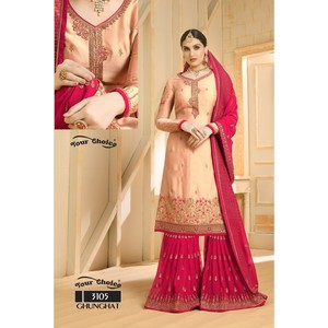 Semi Stitched Women's Sharara Salwar Suit Ghunghat 3105