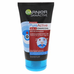 Garnier Skinactive Innovation  Pure Active 3 In 1 Charcoal Face Wash 150ml