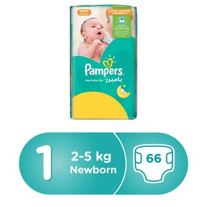 Pampers New Baby-Dry Diapers, Size 1, Newborn, 2-5kg, Jumbo Pack, 66 Count