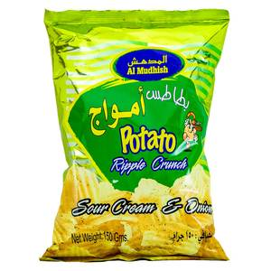 Al Mudhish Potato Ripple Crunch Sour Cream & Onion 150g