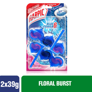 Harpic Toilet Block Blue Power 6 Floral Burst 2 x 39g