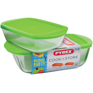 Pyrex Picnic Rectangular Roaster 2pcs With Lid