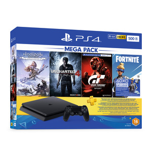 Sony PS4 Console 500GB + Horizon Zero Dawn + Uncharterd 4 + Gran Turismo + 3Month Playsation Plus Voucher