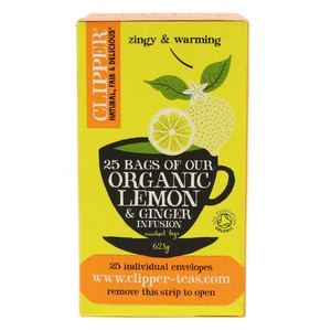 Clipper Organic Lemon & Ginger Tea 25pcs