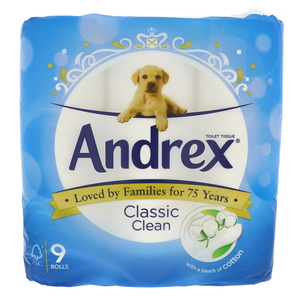 Andrex Toilet Tissue Classic Clean 9 rolls